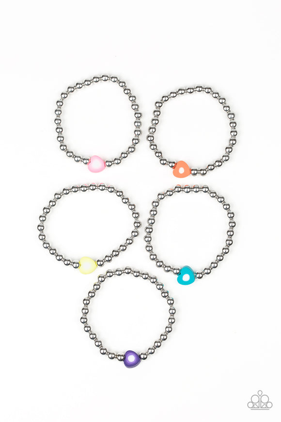 Girl's Starlet Shimmer Multi Color Heart Silver Bead Valentine 177XX Set of 5 Bracelets Paparazzi Jewelry