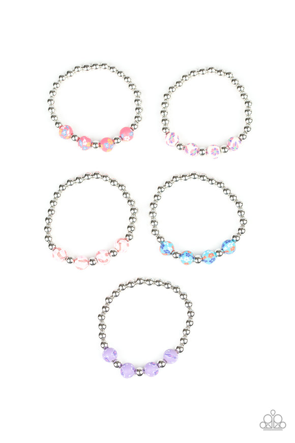 Girl's Starlet Shimmer 176XX Multi Color  Flower and Silver Bead Set of 5 Bracelets Paparazzi Jewelry