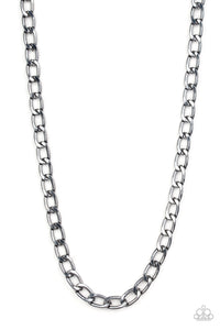 "Paparazzi ""Big Win"" Black Gunmetal Cable Chain Mens Necklace Unisex Paparazzi Jewelry"
