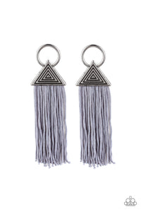 "Paparazzi ""Oh My GIZA"" Silver Triangle Frame Gray Cording Earrings Paparazzi Jewelry"