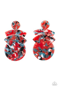 "Paparazzi ""In The HAUTE Seat"" Orange Faux Marble Acrylic Earrings Paparazzi Jewelry"
