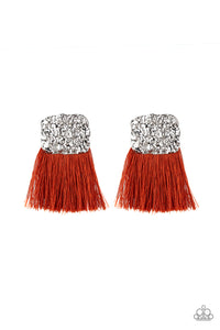 "Paparazzi ""Plume Bloom"" Orange Thread Hammered Silver Frame Post Earrings Paparazzi Jewelry"