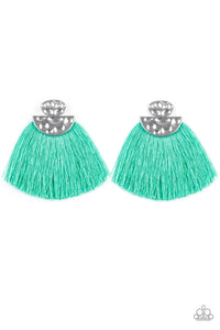 "Paparazzi ""Make Some PLUME"" Green Thread  Flare Silver Post Earrings Paparazzi Jewelry"