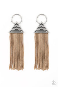 "Paparazzi ""Oh My GIZA"" Brown Cording Silver Triangle Frame Earrings Paparazzi Jewelry"