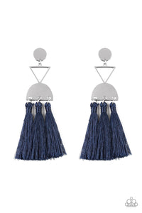 "Paparazzi ""Tassel Trippin"" Blue Threaded Tassel Silver Frame Earrings Paparazzi Jewelry"