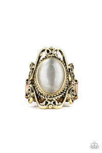 "Paparazzi ""Fairytale Flair"" Brass Filigree Frame Glowing Cats Eye Stone Ornate Design Ring Paparazzi Jewelry"