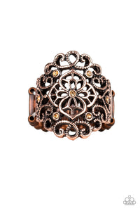 "Paparazzi ""Grenada Gardens"" Copper Frame Topaz Rhinestone Filigree RIng Paparazzi Jewelry"