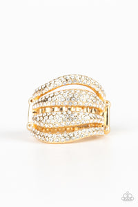 "Paparazzi ""Roll Out The Diamonds"" Gold Frame White Rhinestone Ring Paparazzi Jewelry"