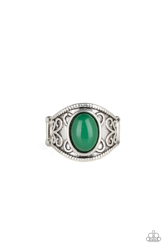 "Paparazzi ""Lets Take It From The POP"" Green Bead Silver Vine Filigree Design Ring Paparazzi Jewelry"