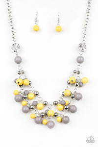 "Paparazzi ""Seaside Soiree"" Multi Yellow, Gray and Silver Bead Necklace & Earring Set Paparazzi Jewelry"