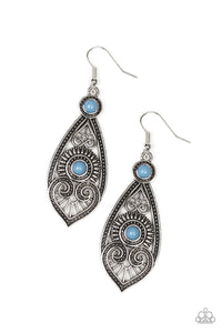 "Paparazzi ""Sweetly Siren"" Blue Bead Silver Heart Shaped Filigree Earrings Paparazzi Jewelry"