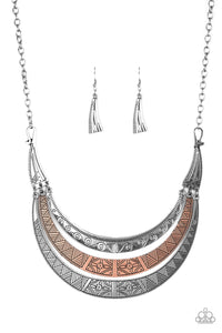 "Paparazzi ""Take All You Can GATHERER"" Multi Copper and Silver Etched Plate Necklace & Earring Set Paparazzi Jewelry"