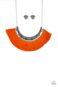 "Paparazzi ""Might and Mane"" Orange Thread Flare Silver Frame Necklace & Earring Set Paparazzi Jewelry"