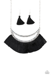 "Paparazzi ""The MANE Event"" Black Thread Flare Silver Half Moon Necklace & Earring Set Paparazzi Jewelry"