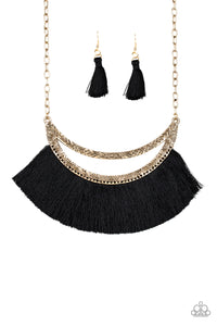 "Paparazzi ""The MANE Event"" Gold Frame Black Thread Flare Half Moon Necklace & Earring Set Paparazzi Jewelry"