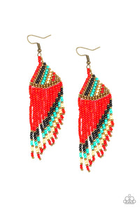 "Paparazzi "" Bodaciously Bohemian"" Red Black Brass Blue and White Seed Bead Earrings Paparazzi Jewelry"