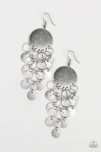 "Paparazzi ""Turn On The BRIGHTS"" Silver Ring Disc Fringe Earrings Paparazzi Jewelry"