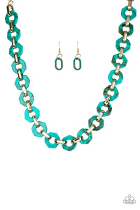 "Paparazzi ""Fashionista Fever"" Blue Geometric Acrylic Frame Gold Necklace & Earring Set Paparazzi Jewelry"