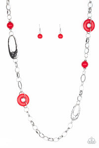 "Paparazzi ""Artisan Artifact"" Red Stone Silver Link Necklace & Earring Set Paparazzi Jewelry"