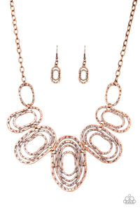 "Paparazzi ""Empress Impressions"" Copper Connected Ring Necklace & Earring Set Paparazzi Jewelry"