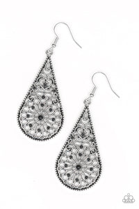 "Paparazzi ""Mandala Makeover"" Black Bead Silver Filigree Teardrop Earrings Paparazzi Jewelry"