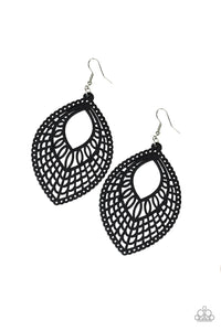 "Paparazzi ""Coachella Gardens"" Black Stenciled Design Wooden Earrings Paparazzi Jewelry"