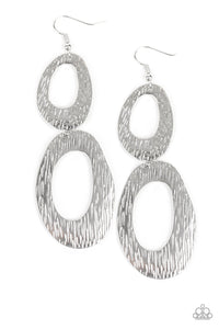 "Paparazzi ""Ive SHEEN It All"" Silver Asymmetrical Hoop Earrings Paparazzi Jewelry"