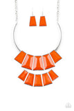 "Paparazzi ""Lions, TIGRESS, and Bears"" Orange Faceted Bead Silver Necklace & Earring Set Paparazzi Jewelry"