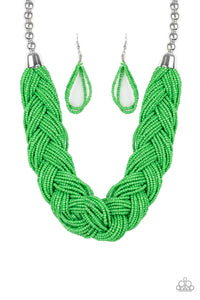 "Paparazzi ""The Great Outback"" Green Seed Beads Braided Silver Tone Necklace & Earring Set Paparazzi Jewelry"