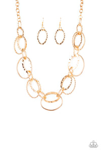 "Paparazzi ""Bend OVAL Backwards"" Gold Hammered Oval Hoop Necklace & Earring Set Paparazzi Jewelry"