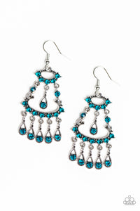 "Paparazzi ""Chandelier Shimmer"" Blue Rhinestone Silver Dangle Earrings Paparazzi Jewelry"