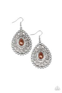 "Paparazzi ""Glamour Grandeur"" Brown Pearl Silver Filigree Teardrop Earrings Paparazzi Jewelry"