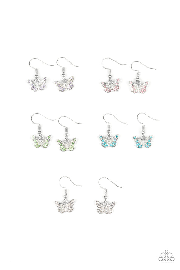 Girl's Starlet Shimmer Multi-Color Silver Butterfly 164XX Set of 5 Earrings Paparazzi Jewelry