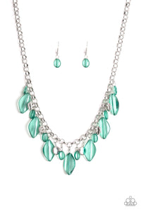 "Paparazzi ""Malibu Ice"" Green Glassy and Silver Bead Necklace & Earring Set Paparazzi Jewelry"