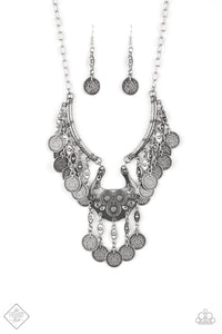 "Paparazzi ""Treasure Temptress"" 501 FASHION FIX Sunset Sightings September 2019 Silver Coin Disc Fringe Plate Necklace & Earring Set Paparazzi Jewelry"
