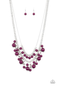 "Paparazzi ""Beautifully Beaded"" Purple Bead Silver Chain Necklace & Earring Set Paparazzi Jewelry"