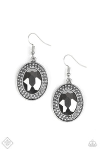 "Paparazzi ""Rebel Highness"" 302 FASHION FIX Magnificent Musings September 2019 Silver Frame Hematite Gem Earrings Paparazzi Jewelry"