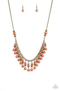 "Paparazzi ""Location, Location, Location!"" Orange Pearl and Shiny Bead Brass Necklace & Earring Set Paparazzi Jewelry"