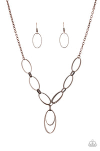 "Paparazzi ""All OVAL Town"" Copper Oval Frame Linked Hoop Necklace & Earring Set Paparazzi Jewelry"
