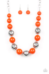 "Paparazzi ""Floral Fusion"" Orange and Silver Bead Necklace & Earring Set Paparazzi Jewelry"