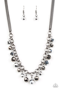 "Paparazzi ""And The Crowd Cheers"" Black and Gunmetal Bead Fringe Necklace & Earring Set Paparazzi Jewelry"