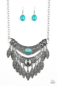"Paparazzi ""Island Queen"" Blue Turquoise Stone Silver Filigree Necklace & Earring Set Paparazzi Jewelry"