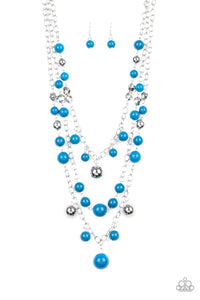 "Paparazzi ""The Partygoer"" Blue & Silver Bead Multi Chain Necklace & Earring Set Paparazzi Jewelry"