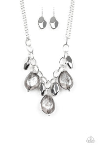 "Paparazzi ""Looking Glass Glamorous"" Silver Faceted Bead Necklace & Earring Set Paparazzi Jewelry"
