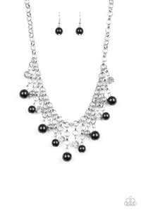 "Paparazzi ""HEIR-headed"" Black & Silver Bead Necklace & Earring Set Paparazzi Jewelry"