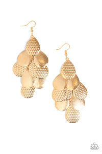 "Paparazzi ""Chime Time"" Gold Teardrop Frame Earrings Paparazzi Jewelry"