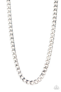 "Paparazzi ""The Underdog"" Silver Oval Curb Chain Mens Necklace Unisex Paparazzi Jewelry"