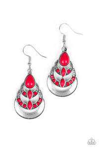 "Paparazzi ""Boho Brilliance"" Pink Bead Silver Teardrop Earrings Paparazzi Jewelry"