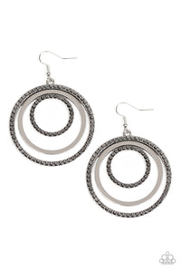 "Paparazzi ""Rippling Refinement"" Silver Frame Hematite Rhinestone Multi Hoop Earrings Paparazzi Jewelry"