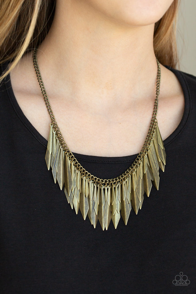 Paparazzi Quot The Thrill Seeker Quot Brass Spike Fringe Necklace